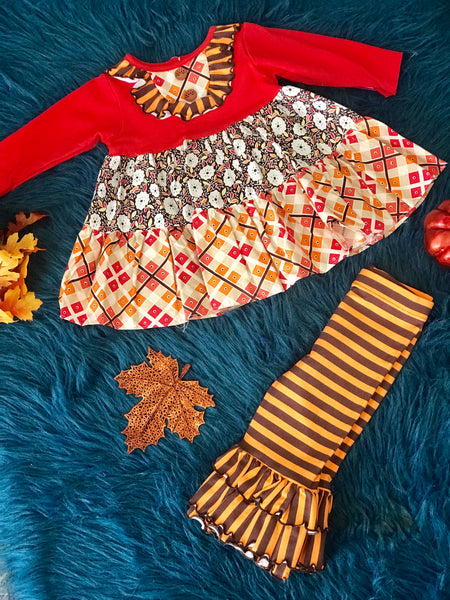 Molly & Millie By Peaches N Cream Fall Sugar And Spiced Tunic And Ruffle Leggings - JEN'S KIDS BOUTIQUE