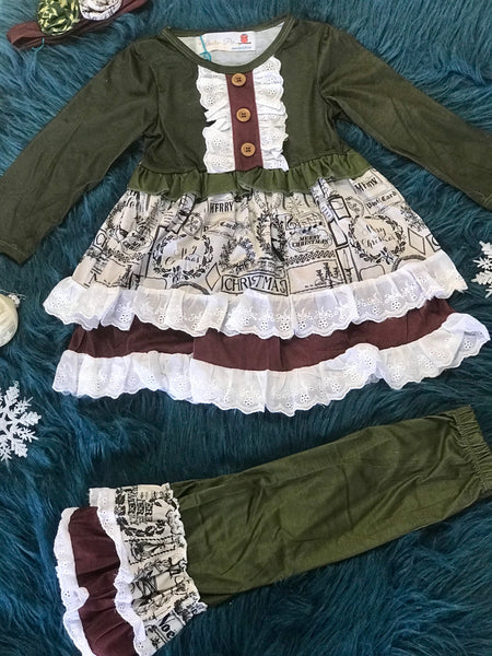 Fall Vintage Christmas Pant Set. - JEN'S KIDS BOUTIQUE