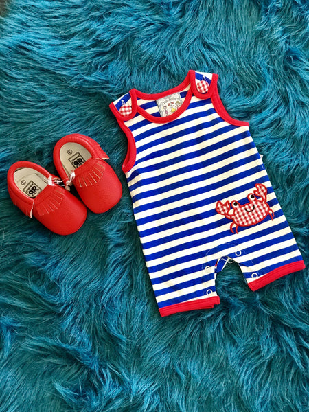Spring Three Sisters Crab Infant Boys Romper - JEN'S KIDS BOUTIQUE