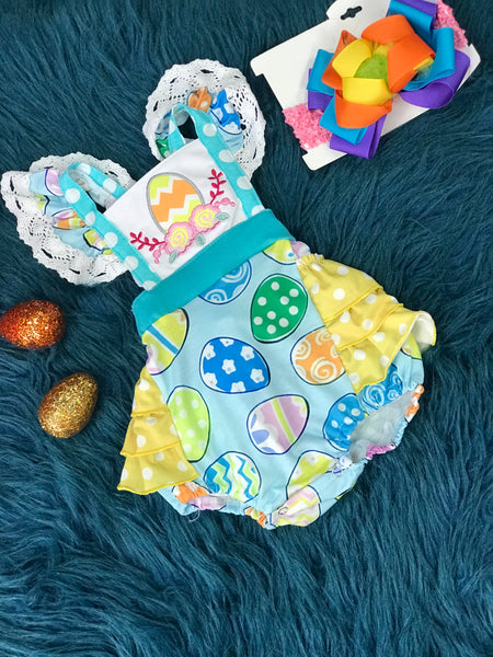 Easter Egg Fun Embroided & Ruffle Bubble - JEN'S KIDS BOUTIQUE