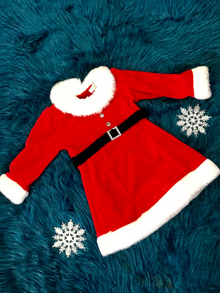 Christmas Red Santa Dress With Black Belt - JEN'S KIDS BOUTIQUE