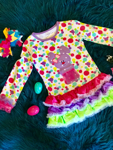 Spring Fun Easter Colorful Polka Dot Bunny In A TuTu Dress - JEN'S KIDS BOUTIQUE