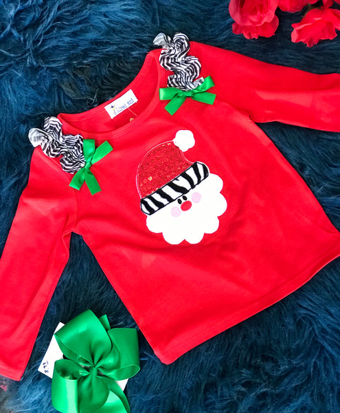 Kirei Sui Red Santa Shirt w/ Zebra Ruffles & Green Bows CH - JEN'S KIDS BOUTIQUE