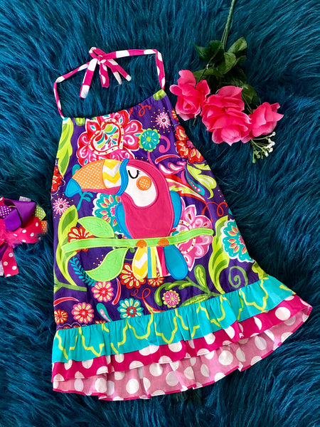 Honesty Spring Toucan App Dress - JEN'S KIDS BOUTIQUE