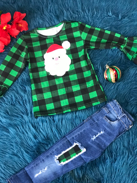 New Christmas Girls Green Plaid Santa Applique Denim Jeans Set C - JEN'S KIDS BOUTIQUE
