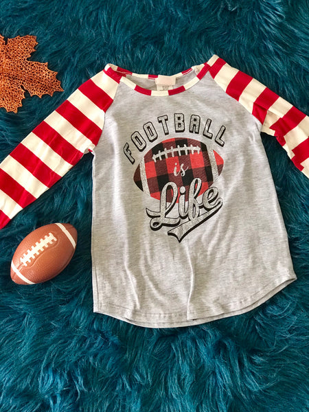 Fall Women's Football Is Everything With Plaid Football & Stripped Sleeves - JEN'S KIDS BOUTIQUE