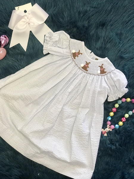 2018 Banana Split Spring Easter Light Blue Bunny Dress - JEN'S KIDS BOUTIQUE
