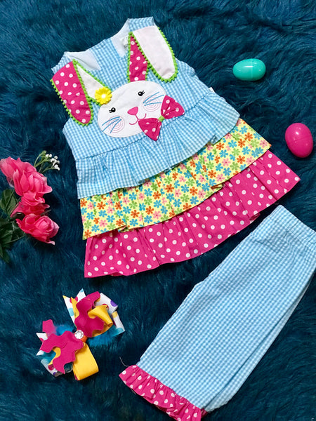 Rare E Sweet Easter Bunny Blue and Hot PInk Capri Set - JEN'S KIDS BOUTIQUE