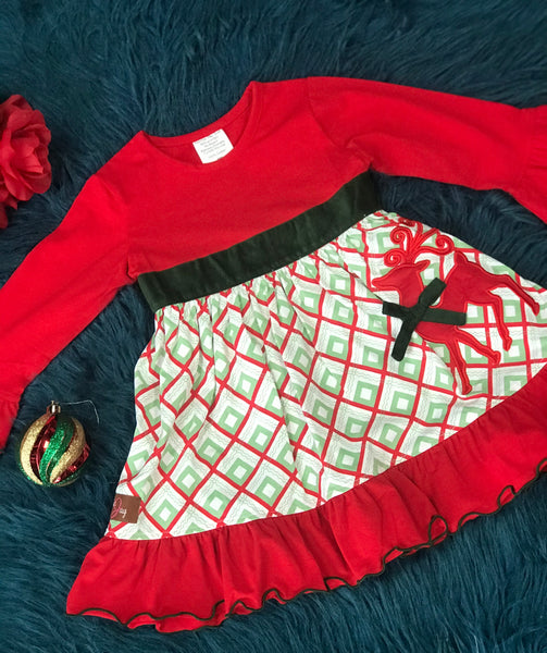 New Millie Jay Christmas Regal Reindeer App Dress - JEN'S KIDS BOUTIQUE