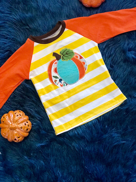 2018 Playful Thanksgiving Stripped Pumpkin Boys Shirt - JEN'S KIDS BOUTIQUE