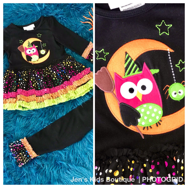 Bonnie Jean Black Halloween Owl/Moon Pant Set H - JEN'S KIDS BOUTIQUE