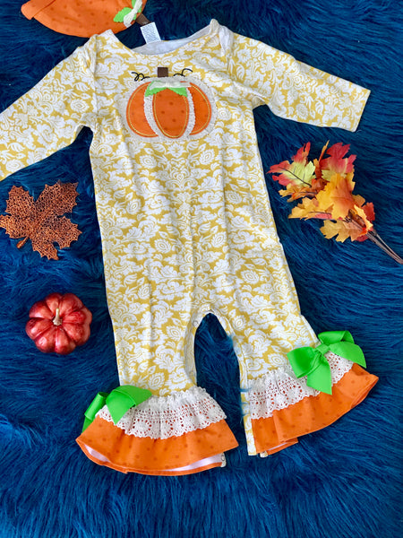 Peaches N Cream Fall Girls Thankful Thanksgiving Romper With Pumpkin Hat - JEN'S KIDS BOUTIQUE
