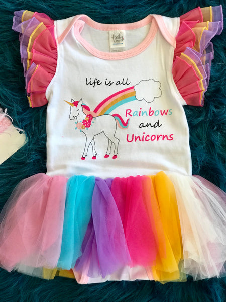 Ganz  Lifes All About Unicorn Tutu Onesie - JEN'S KIDS BOUTIQUE