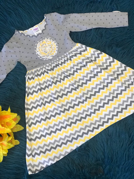 Mallory May By Peaches N Cream Yellow Gray Polka Dot & Chevron Dress CL - JEN'S KIDS BOUTIQUE