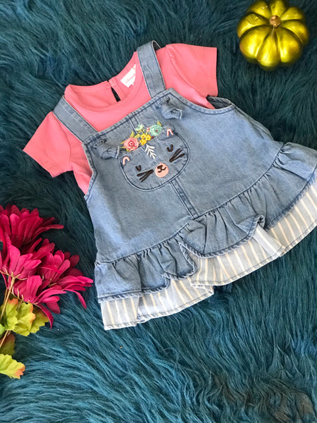 Bonnie Jean 2pc Pink Onesie & Denim Overall Dress With Cat Face - JEN'S KIDS BOUTIQUE