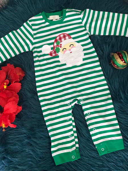 New Christmas Infant Boys Green Stripped Santa Romper C - JEN'S KIDS BOUTIQUE