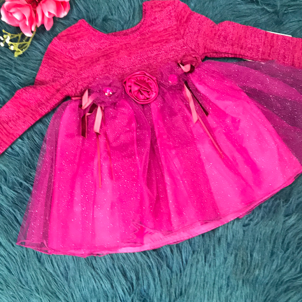 Bonnie Baby Purple Sparkly Dress w/ Flowers CL - JEN'S KIDS BOUTIQUE