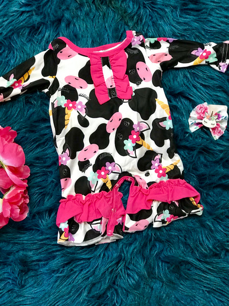 New Fall Infant Cow Fantasy Fun Ruffle Romper - JEN'S KIDS BOUTIQUE