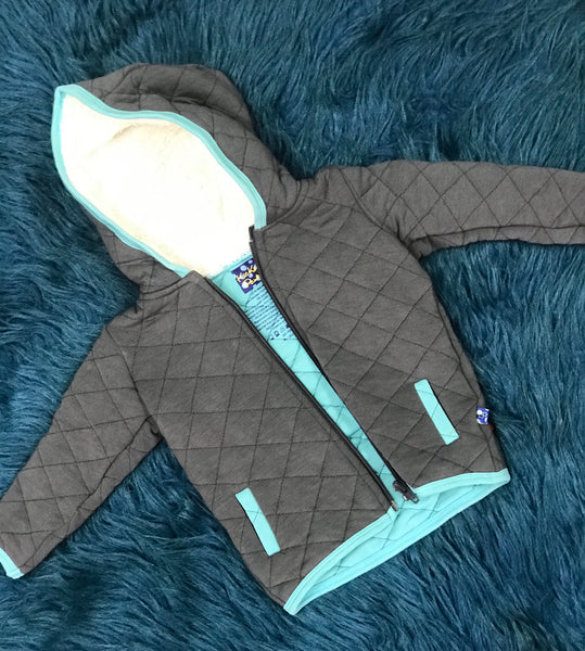 KicKee Pants Boys Quilted Jacket With Sherpa- Lined Hood Stone With Glacie - JEN'S KIDS BOUTIQUE