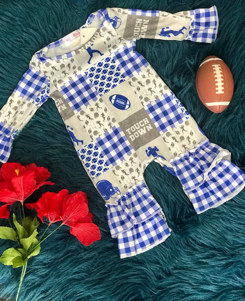 New Fall Blue Football Long Sleeve Romper - JEN'S KIDS BOUTIQUE