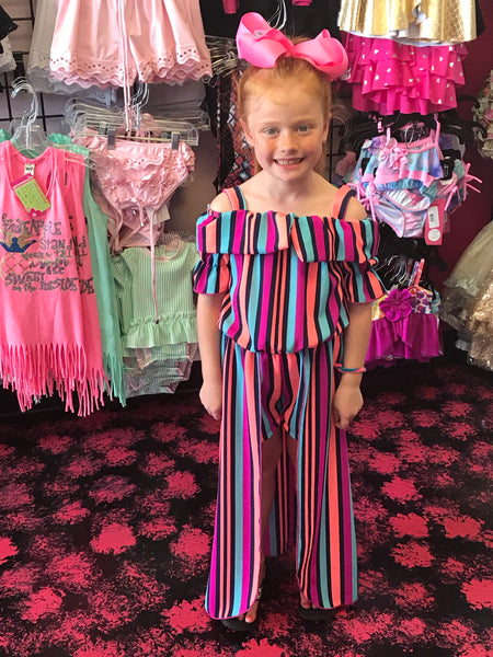 Summer Angel  Off The Shoulder Flower Girls Flay Away Mixed Stripped Maxi Romper with Dream Catcher Necklace - JEN'S KIDS BOUTIQUE