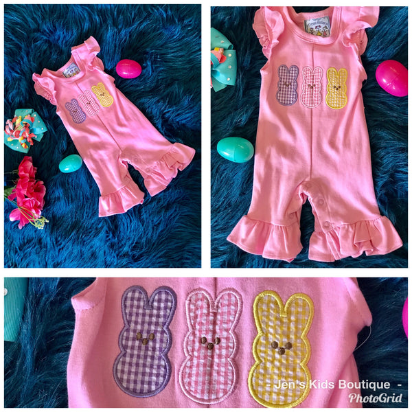 Spring Easter Three Sisters Peeps Infant Girls Romper - JEN'S KIDS BOUTIQUE