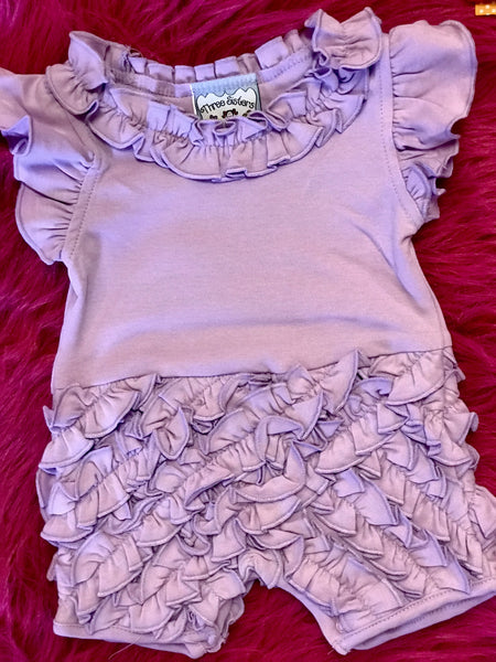 Spring Three Sisters Lavender Rouched Infant Girls Romper - JEN'S KIDS BOUTIQUE