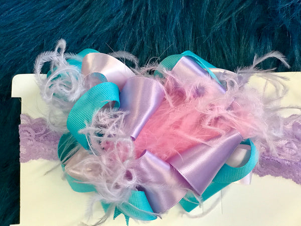 2018 Custom Headband Bows W/Feathers - JEN'S KIDS BOUTIQUE