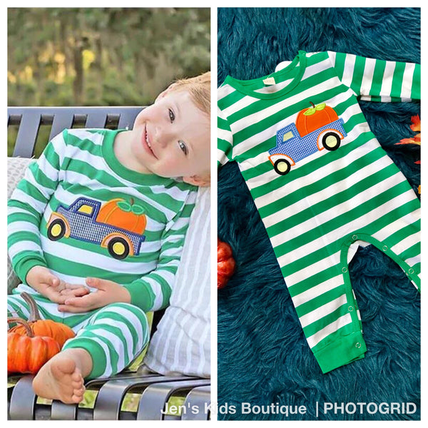 New Fall Stripped Pumpkin  Truck Longall - JEN'S KIDS BOUTIQUE