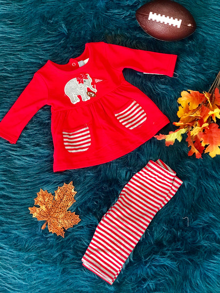 New Fall Football Fun Girls Elephant Applique Piece Set - JEN'S KIDS BOUTIQUE