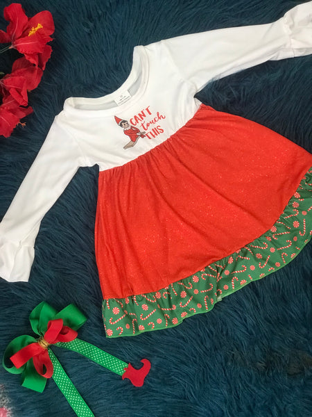 New Christmas Can't Touch This Elf On The Shelf Dress C - JEN'S KIDS BOUTIQUE