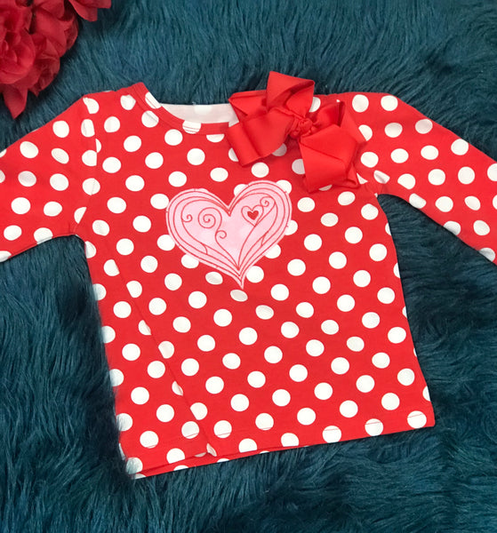 Kirei Sui Valentines Polka Dot Heart Shirt V - JEN'S KIDS BOUTIQUE