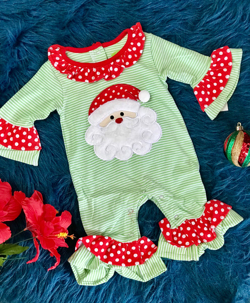 New Christmas Be Mine Applique Stripped Green & Red Girls Santa Ruffle Romper - JEN'S KIDS BOUTIQUE