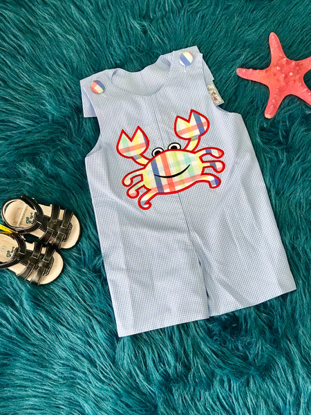 2019 Spring & Summer Three Sisters Boys Crab Shortall Romper - JEN'S KIDS BOUTIQUE