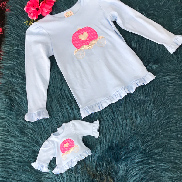 Dolly & Me Blue Princess Carriage Shirts - JEN'S KIDS BOUTIQUE