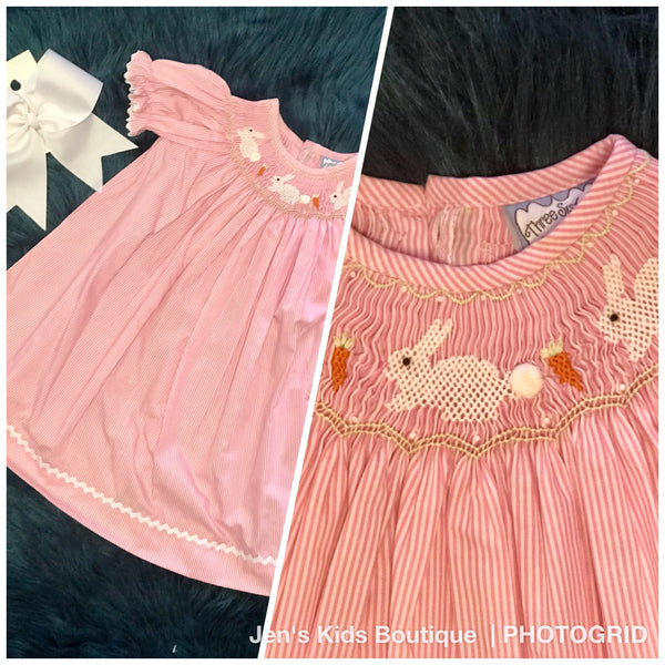 Three Sisters Sweet Baby Pink Bunny Easter Dress - JEN'S KIDS BOUTIQUE