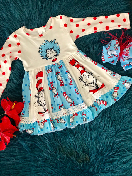 New Fall Dr Seuss & Friends Long Sleeve Dress - JEN'S KIDS BOUTIQUE