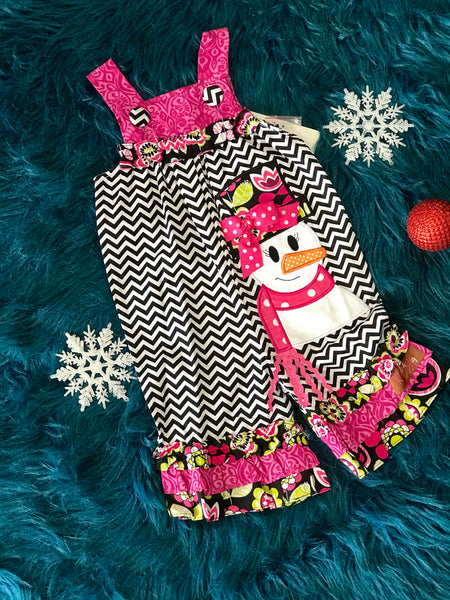 Millie Jay Christmas Chevron & Hot Pink Applique Snowman Romper - JEN'S KIDS BOUTIQUE