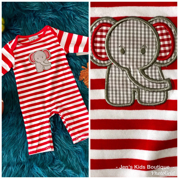 2018 Fall Three Sisters Boys Stripped Elephant Infant Romper - JEN'S KIDS BOUTIQUE