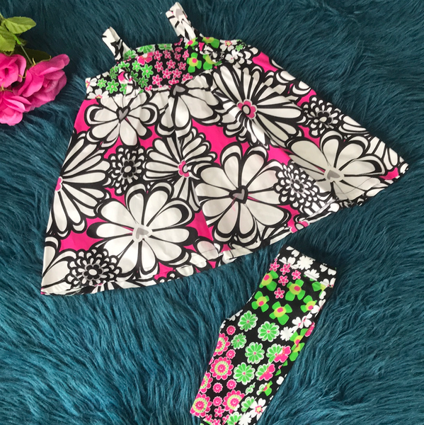 Corky Kids Black White And Pink Floral Capri  Set w/ Green Top - JEN'S KIDS BOUTIQUE