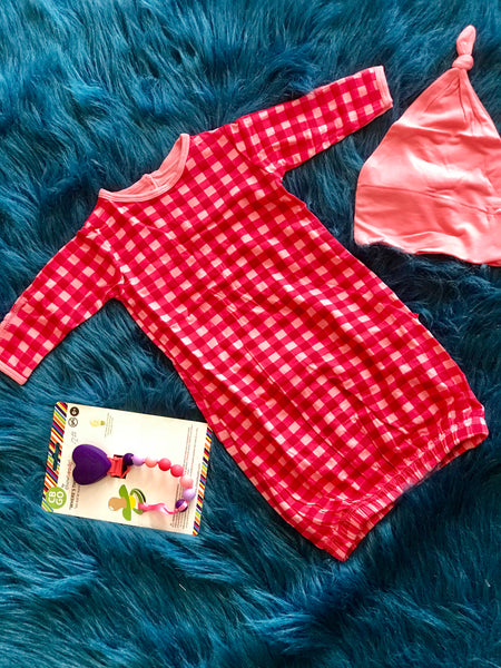2018 Kickee Pants Red GinghamLayette Gown Converter & Knot Hat - JEN'S KIDS BOUTIQUE