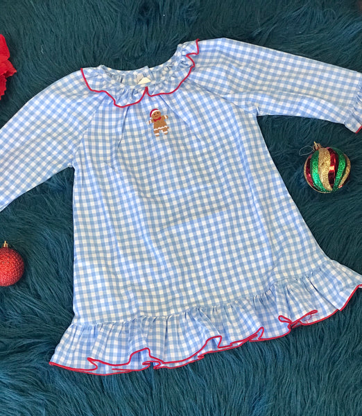 New Christmas Sweet Dreams Cotton Blue Plaid Ginger Bread Gown C - JEN'S KIDS BOUTIQUE