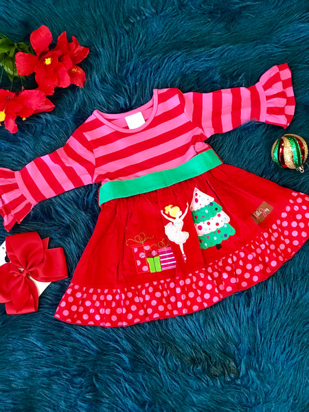 New Christmas Millie Jay Nutcracker Applique Bell Sleeve Dress - JEN'S KIDS BOUTIQUE