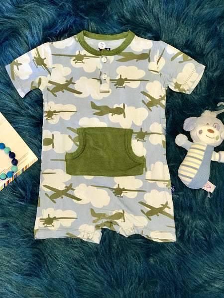 2018 Spring One Kickee Pants Pond Airplanes Kangaroo Romper - JEN'S KIDS BOUTIQUE