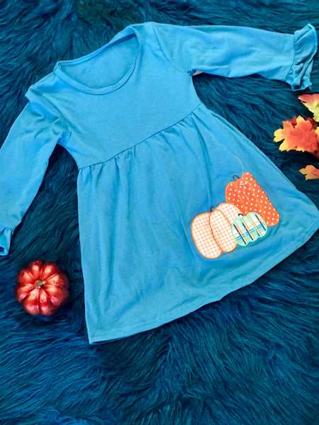 New Fall Blue Pumpkin Harvest Ruffle Long Sleeve Dress - JEN'S KIDS BOUTIQUE