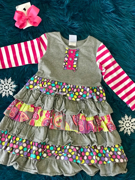 Three Sisters Gray Hot Pink Dress - JEN'S KIDS BOUTIQUE