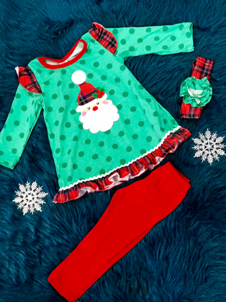 2018 Christmas Green Polka Dot & Plaid Santa Ruffle Pant Set With Headband - JEN'S KIDS BOUTIQUE
