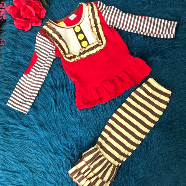 Red Yellow & Brown Stripped Ruffle Pant Set - JEN'S KIDS BOUTIQUE