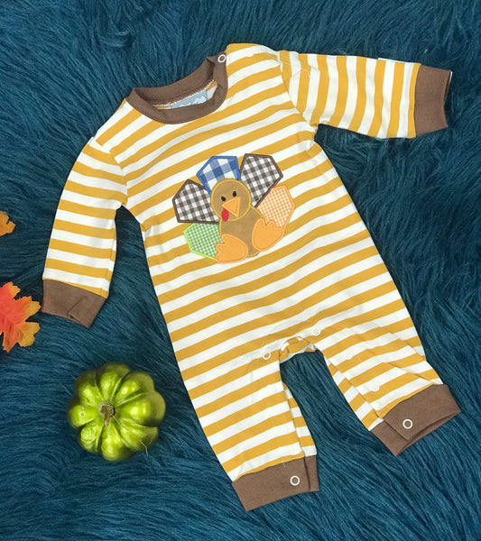 Three Sisters Fall Boys Turkey Romper