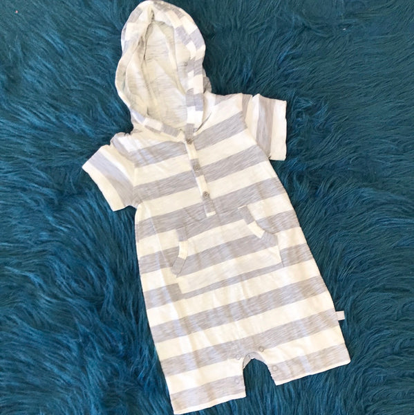 Summer Gray Stripped Shortall w/ Hoodie